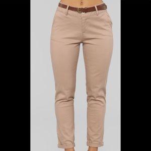 Pants - Belted khaki pants
